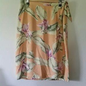 Tommy Bahama 100% silk wrap skirt